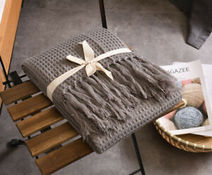 51x67-Soft-Knitted-Throw-Blanket-Bed-Sofa-Couch-Decorative-Fringe-Waffle-Pattern