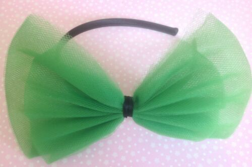 EMERALD GREEN BOW TULLE TUTU NET ALICE HAIR HEAD BAND 80s RETRO PARTY FANCY DRES