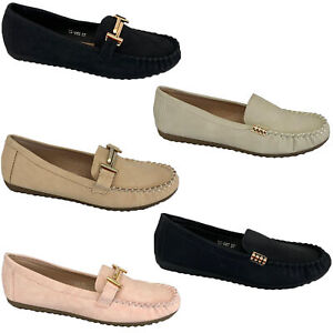 Ladies-Moccasins-Slip-On-Shoes-Ballerina-Womens-Leather-Look-Loafers-Flat-Work