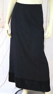 Johnny-Was-Skirt-XS-Black-Rayon-Velvet-Hem-Vine-Embroidery-Long-Column-Maxi-Boho