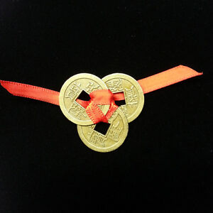 Lucky 3 chinese coins tied with red ribbon good luck - Feng shui good luck coins ...