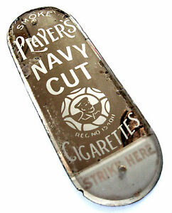 Victorian-Player-039-s-Navy-Cut-Advertising-Glass-Finger-Plate-Match-Striker-c-1890