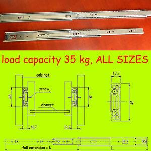 Ball Bearing Drawer Runners Slides Full Extension All sizes 35 kg* capacity H-45