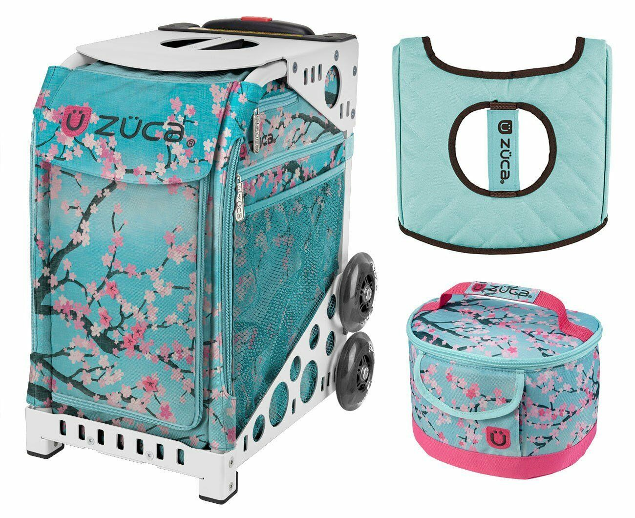 Zuca Sport Bag - Hanami with GIFT Lunchbox and Seat Cover (White Frame)