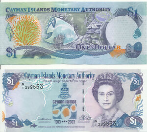 Pick 30 Cayman Islands Kaimaninseln 1 Dollar 2003 Unc