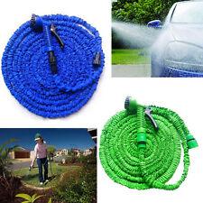 25FT Expanding Flexible Garden Car Water Hose Pipe Reel+ 7 Mode Spray Nozzel Gun