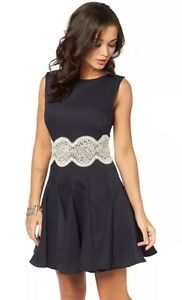Ax-Paris-Lace-Waist-Dress-Navy-Size-18-Skater-Dress-Sleeveless-Fitted-Flared