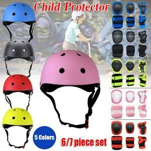7x//Set Children Kids Safety Helmet Knee Elbow Pad Cycling Skate Bike Boy Girl Uk