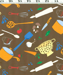 1-2-yard-Fabric-Clothworks-FUNKY-KITCHEN-VEGETABLES-COLLAGE-Y0579-15-Brown