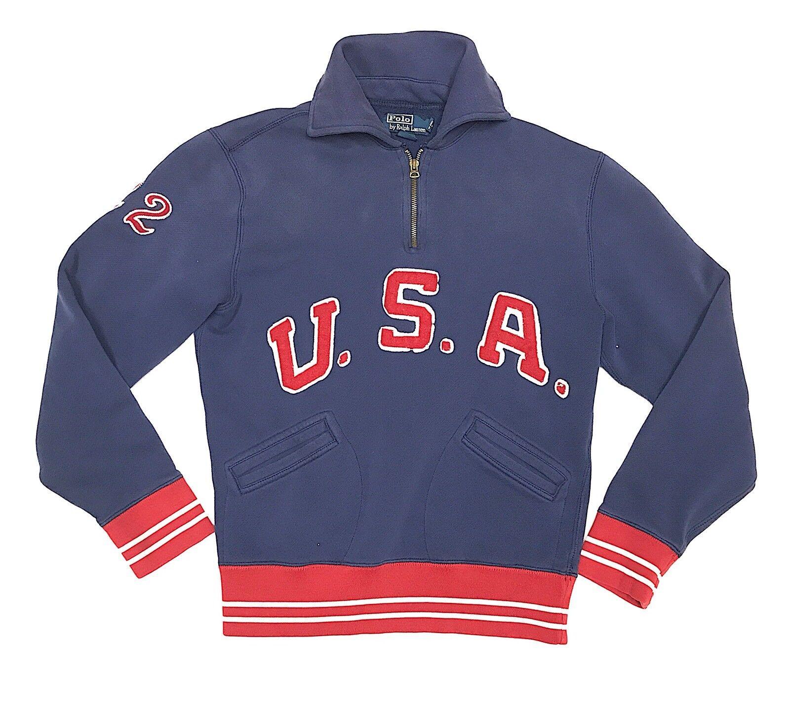 Vintage 90s Polo USA 22 Ralph Lauren 1 4 Zip Pull Over Sweatshirt Sport Large