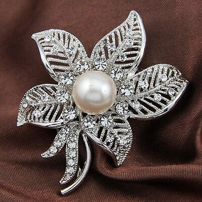 Big Sliver Rhinestone Crystal Flower Brooch Pin DIY Wedding Bouquet Wholesale