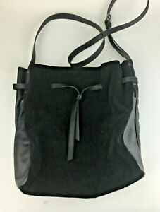 28a6c67960 Halston Heritage Purse Olivia Bucket Bag Black Suede Leather Large ...