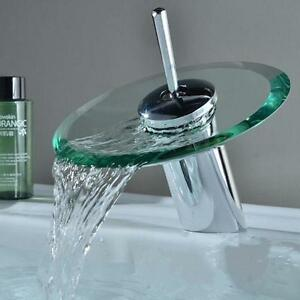 Basin Sink Faucet Waterfall Bathroom Copper Glass Mixer