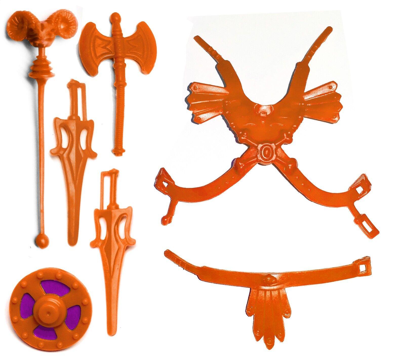 PRE-ORDER Vintage MOTU Custom FAKER Orange DELUXE ARMOR & WEAPONS SET HE-MAN
