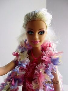 Barbie doll blonde hair straight limbs new pink high heels, dress & knitted vest