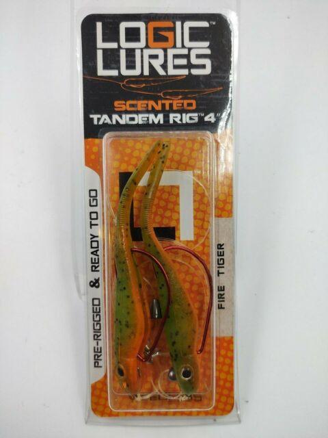 """2 Logic Lures Scented Tandem Rig 4/"""" Fire Tiger Weedless Hooks for sale online"""