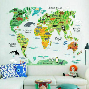Animal-World-Map-Wall-Stickers-Removable-Art-Decal-Kids-Nursery-Home-Decors