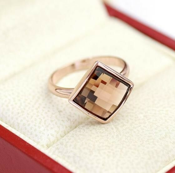 18K  Rose Gold plating Swarovski Crystal Element square Ring 6/7/8/9 Size a547