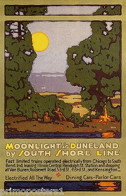Visit Duneland Tremont by South Shore Line vintage train travel poster repro 12x