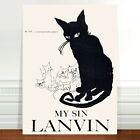 "Vintage Perfume Poster Art ~ CANVAS PRINT 16x12"" ~ My Sin Lanvin Black Cat"