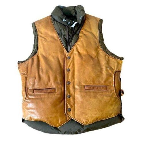 Schott NYC VTG Down Et Plume Leather Puffer Vest