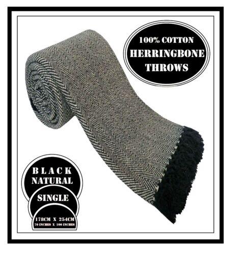 Bed 100/% Cotton Black Herringbone Sofa Chair Throws in 5 Sizes Settee