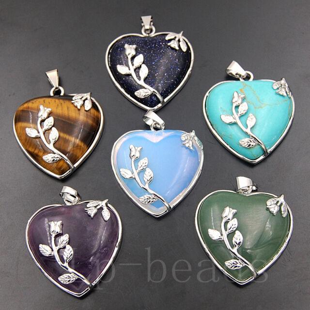 Natural Gemstone Heart Silver Flower Reiki Chakra Pendant Charm Craft Beads