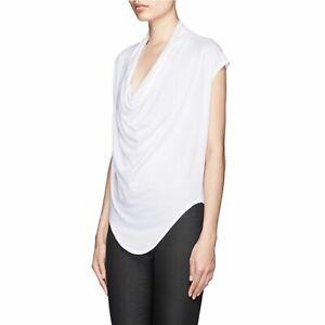 Helmut Lang Women's White Cowl Neck T-Shirt Asymmetric Hem Size Medium