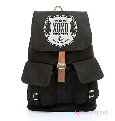 EXO XOXO WOLF SEHUN KAI KRIS FIRST YEAR BLACK CANVAS SCHOOLBAG BACKPACK NEW