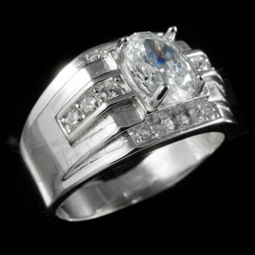 925 Sterling Silver 18k White Gold Band Wedding CZ Mens Engagement or Pinky Ring