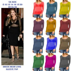 New-Womens-Long-Sleeve-Sheer-Mesh-See-Through-Plain-Blouse-Top-Plus-Size-T-Shirt