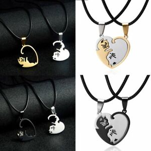 2Psc-Stainless-Steel-Couple-Cut-Cat-Heart-Pendant-Necklace-Leather-Rope-Jewelry