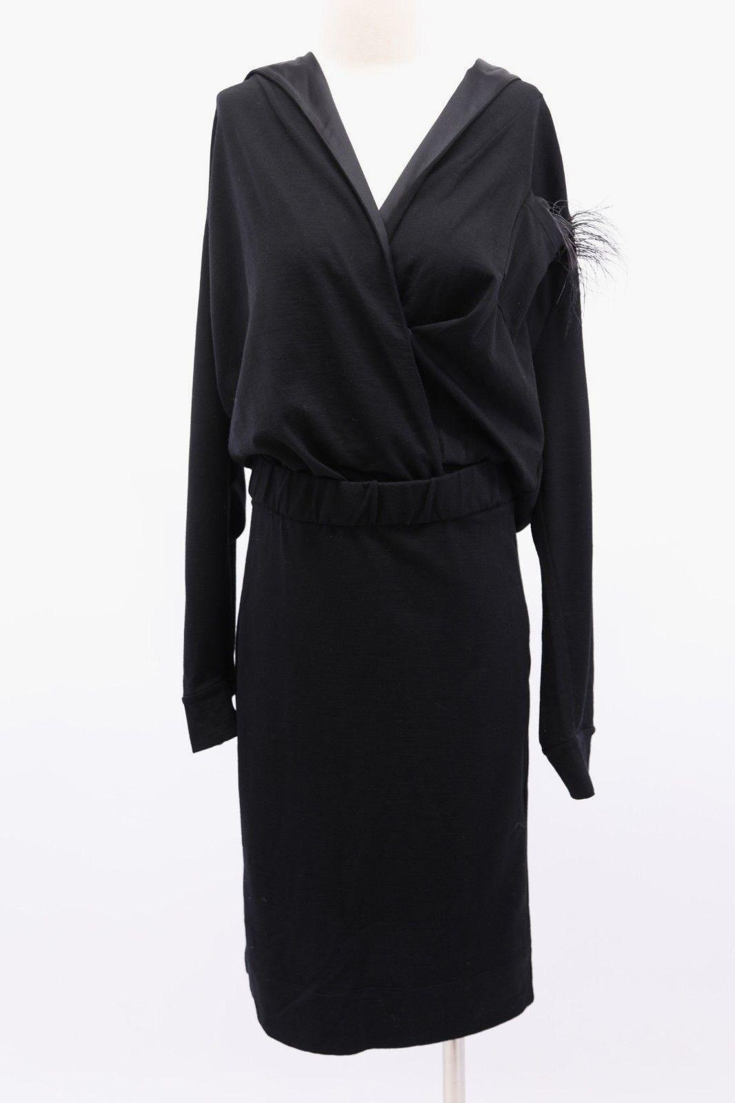 NWT 3325 Brunello Cucinelli Cucinelli Cucinelli Hooded Knit Dress W Beaded+Ostrich Feather Sq M A181 5395f2