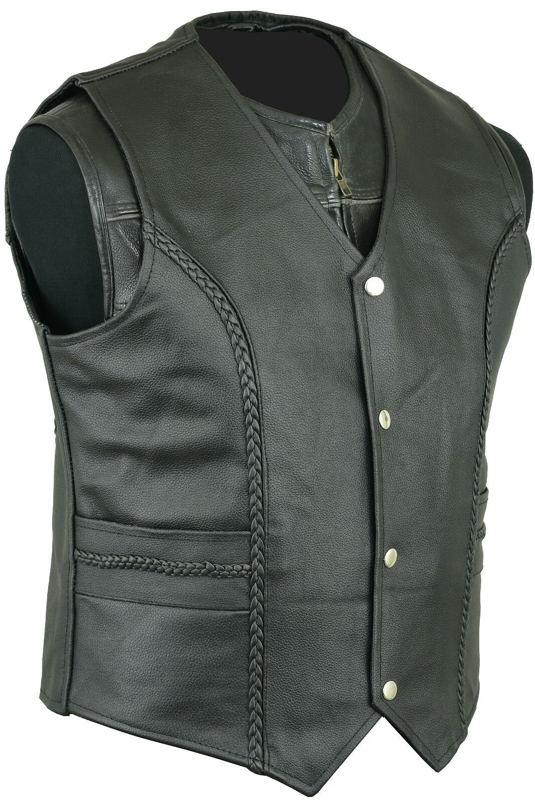 Mens Leather Fashion Fashion Fashion Vest Waistcoat Motorcycle Cruiser Top Vintage | Qualität Produkt