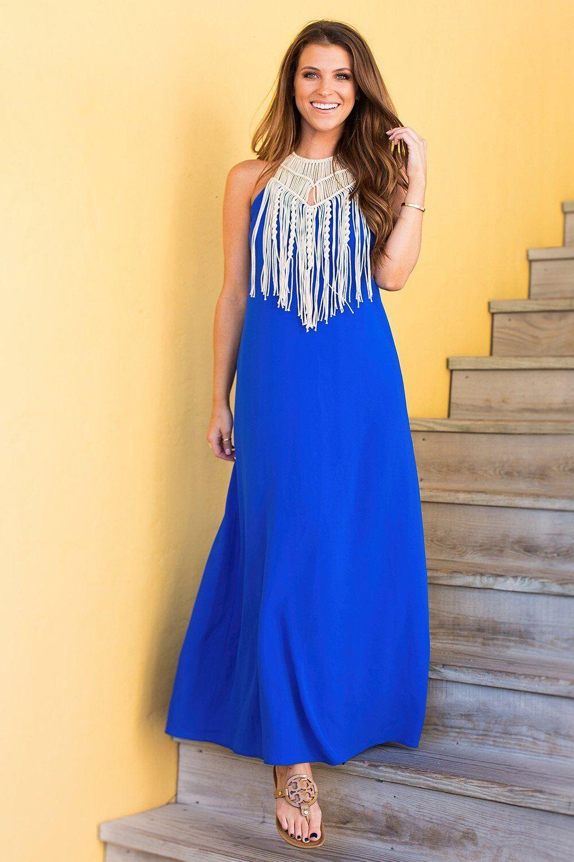 Judith March Neon Blau Halter Maxi Dress with Macrame Neckline - Medium