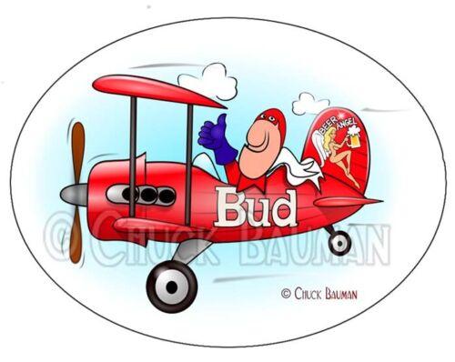Bud Man Bi-Plane beer art sticker decal bud-man biplane airplane