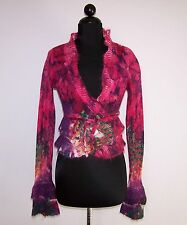 NEW PEPPE PELUSO S-M PINK PURPLE RED MOHAIR CROPPED CARDIGAN RUFFLES