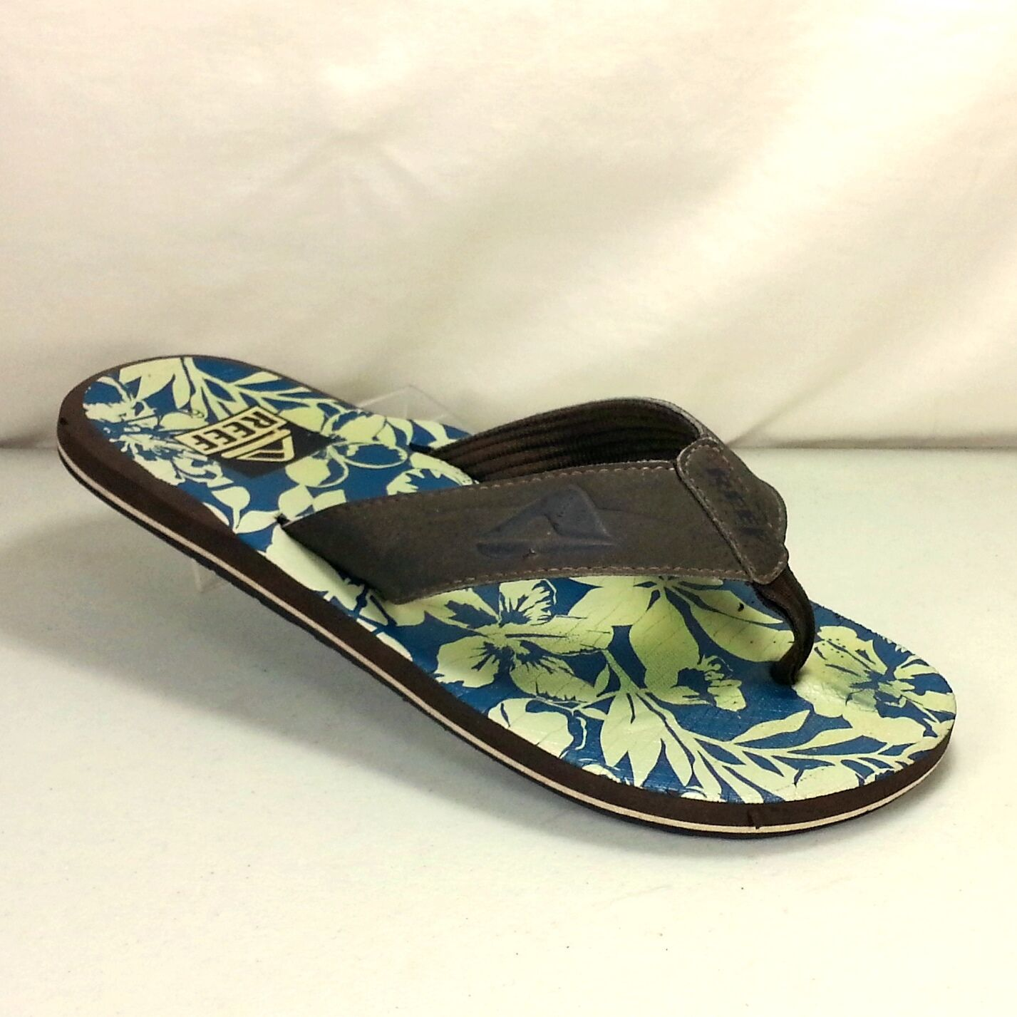 Women's Size Reef Flip Flops Sandals Size Women's 6 Blue Footbed With Green Floral Design c50412