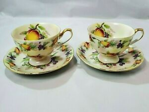 Vintage-Lefton-China-Hand-Painted-Fruit-Gold-Trim-Coffee-Tea-Cups-amp-Saucer-E2722