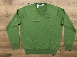 3686a5af549f Peter Millar Merino Wool V-Neck Golf Sweater Green Mens SZ L ...