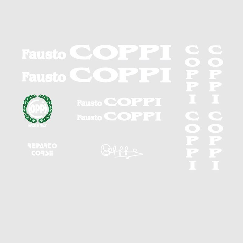 01103 Fausto Coppi Bicycle Stickers Transfers Decals White