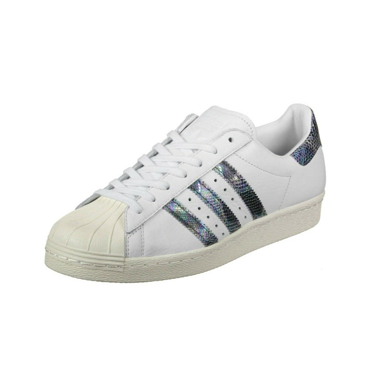 New Mens adidas Superstar 80s Athletic shoes Size 10.5 White Snakeskin MSRP  120