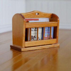 Dollhouse-Miniature-Bookcase-Self-Wooden-Newspaper-Shelf-Newspaper-Shelf-FTA