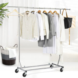 US-Heavy-Duty-Commercial-Garment-Rack-Rolling-Collapsible-Clothing-Shelf-Chrome