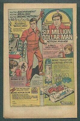 1976 VINTAGE 6.5X10 COMIC TOY PRINT AD FOR KENNER SIX MILLION DOLLAR MAN FIGURE
