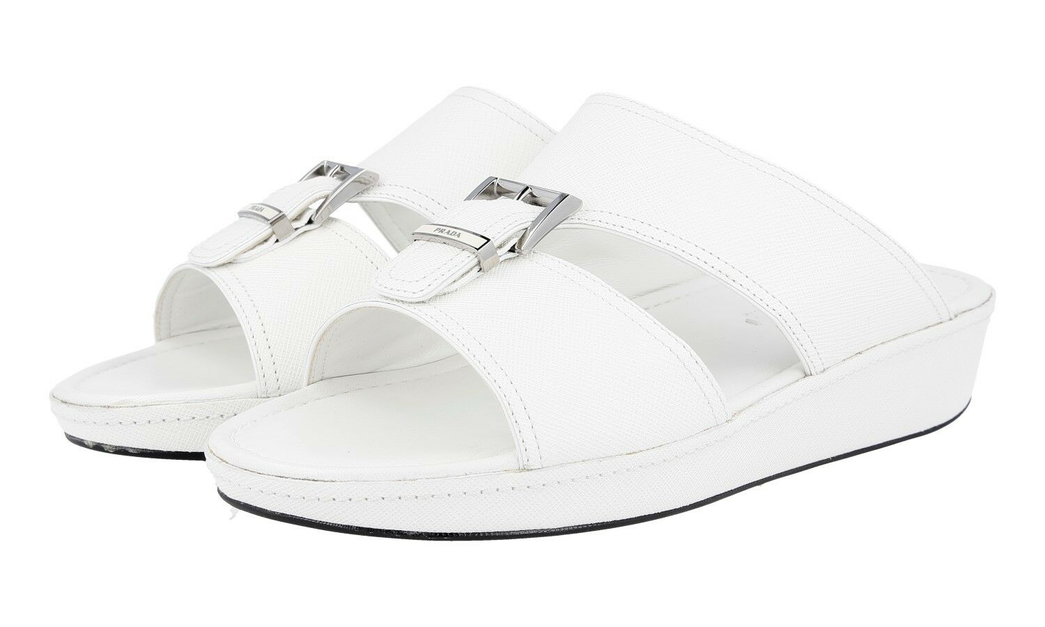 AUTH LUXURY PRADA SAFFIANO SANDALS SHOES 2X2938 WHITE NEW US 8