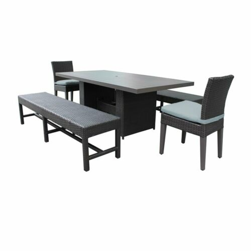 Belle Rectangular Outdoor Patio Dining Table with 2 Chairs 2 Benches in Spa 6091022332860