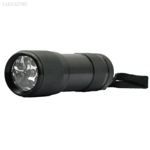 FA7F Invisible Blacklight Marker 9 LED UV Ultra Violet Mini Flashlight Torch