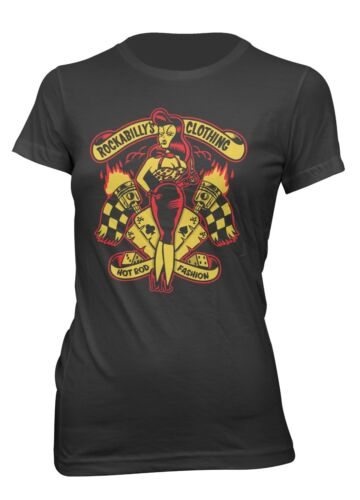 Women Printed T-Shirt Pin Up Rockabilly Hot Road Fashion Girl