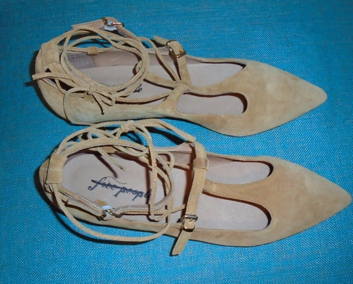Free People Tan Suede Isabelle Lace Up Flats Size EU39 EU39 EU39 8.5  128 NWOB Pointed Toe d8eb27